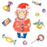 Modelo con dulces y un mono sonriente en un traje del Año Nuevo libre illustration