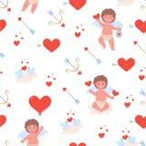 Modelo con el pequeño muchacho del cupido, corazones libre illustration
