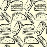 Modelo con filas del esquema de los símbolos de los alimentos de preparación rápida Fotos de archivo libres de regalías