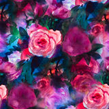 Modelo con la acuarela color de rosa y la peonía Ilustración Imagen de archivo libre de regalías