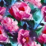 Modelo con la acuarela color de rosa y la peonía Ilustración Fotos de archivo libres de regalías