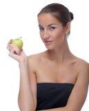 Modelo con la manzana Foto de archivo