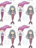 Modelo con la pequeña sirena linda Sirena Tema del mar ilustración del vector
