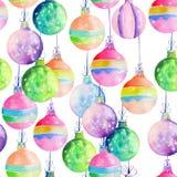 Modelo con las decoraciones coloreadas acuarela de la Navidad (bolas) Imagen de archivo libre de regalías
