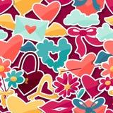 Modelo con las etiquetas engomadas de la tarjeta del día de San Valentín y de la boda Imágenes de archivo libres de regalías