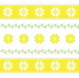 Modelo con las flores blancas y amarillas en estilo justo de la isla ilustración del vector