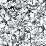 Modelo con las flores negras ilustración del vector