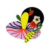 Modelo con las flores tropicales amarillas y rojas ilustración del vector