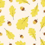 Modelo con las hojas y las bellotas del roble amarillo libre illustration