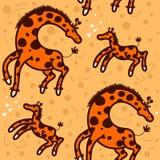 Modelo con las jirafas grandes y pequeñas Foto de archivo