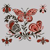 Modelo con las mariposas negras y rojas Fotos de archivo libres de regalías