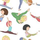 Modelo con las muchachas que hacen yoga stock de ilustración