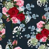 Modelo con las rosas rosadas rojas y suculento inconsútiles, ejemplo del vector stock de ilustración