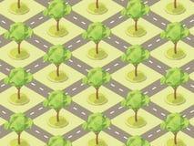 Modelo con los árboles en los parques entre los caminos Illustrati del vector Imagenes de archivo