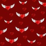 Modelo con los corazones Día del `s de la tarjeta del día de San Valentín Papel de embalaje Foto de archivo libre de regalías