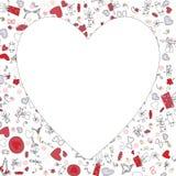 Modelo con los corazones de la tarjeta del día de San Valentín, dibujo de bosquejo para su diseño imagen de archivo