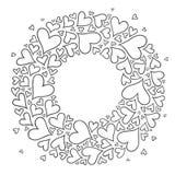 Modelo con los corazones monocromáticos dibujados mano en estilo del zentangle Imagen de archivo