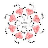 Modelo con los corazones rosados abstractos en el estilo étnico para dibujar Imágenes de archivo libres de regalías