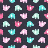 Modelo con los elefantes rosados y azules ilustración del vector