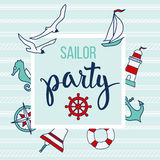 Modelo con los elementos y el marinero náuticos Party del texto Imagen de archivo