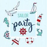 Modelo con los elementos y el marinero náuticos Party del texto Imágenes de archivo libres de regalías