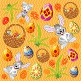 Modelo con los huevos, rabb de Pascua stock de ilustración