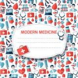 Modelo con los iconos médicos Imagen de archivo