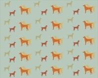 Modelo con los perros en un fondo gris Imagen de archivo