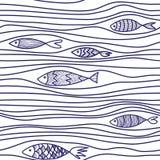 Modelo con los pescados dibujados mano Imagen de archivo