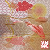 Modelo con los pescados y la puesta del sol, carpa de Koi en fondo japonés tradicional Marrón suave en colores pastel y rosado mo stock de ilustración