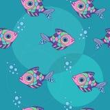 Modelo con los pescados y las burbujas ornamentales Imagen de archivo libre de regalías