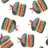 Modelo con una hamburguesa, cheeseburger, tomates, cebollas, chuleta, ensalada de la acuarela ilustración del vector