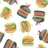 Modelo con una hamburguesa, cheeseburger, tomates, cebollas, chuleta, ensalada de la acuarela stock de ilustración