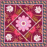 Modelo cuadrado hermoso del remiendo con las flores, la mandala y el marco de Paisley en vector Estilo rural Motivos indios ilustración del vector