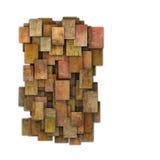 modelo cuadrado rojo marrón anaranjado del grunge de la teja 3d en blanco Foto de archivo libre de regalías