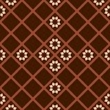 Modelo a cuadros diagonal de Brown con las flores abstractas Stock de ilustración