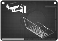 modelo 3d da câmara de vigilância e do portátil imagem de stock