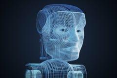 modelo 3D da cabeça robótico 3D rendeu a ilustração Ilustração Stock