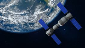 modelo 3D da estação espacial chinesa Tiangong que orbita a terra do planeta ilustração stock