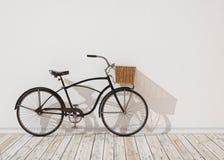 modelo 3d de la bicicleta retra negra con la cesta delante de la pared blanca, fondo Imagen de archivo libre de regalías