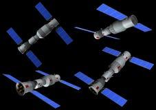 modelo 3D de la estación espacial china Tiangong en diversas posiciones libre illustration