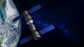 modelo 3D de la estación espacial china Tiangong que está en órbita la tierra del planeta ilustración del vector
