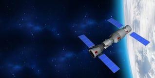 modelo 3D de la estación espacial del ` s Tiangong-1 de China que está en órbita la tierra del planeta stock de ilustración