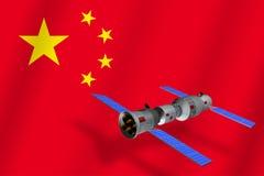 modelo 3D de la estación espacial del ` s Tiangong-1 de China que está en órbita la tierra del planeta con la bandera de China en ilustración del vector