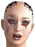 modelo 3D de la mujer en maquillaje de la fantasía Fotos de archivo libres de regalías
