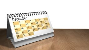modelo 3D de um calendário do desktop de dezembro na cor branca em uma tabela de madeira no fundo branco ilustração royalty free