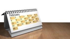 modelo 3D de um calendário do desktop de fevereiro na cor branca em uma tabela de madeira no fundo branco ilustração do vetor