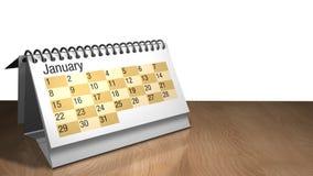 modelo 3D de um calendário do desktop de janeiro na cor branca em uma tabela de madeira no fundo branco ilustração royalty free
