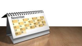 modelo 3D de um calendário do desktop de novembro na cor branca em uma tabela de madeira no fundo branco ilustração stock