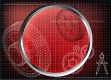 modelo 3d de uma roda denteada em um vermelho ilustração royalty free